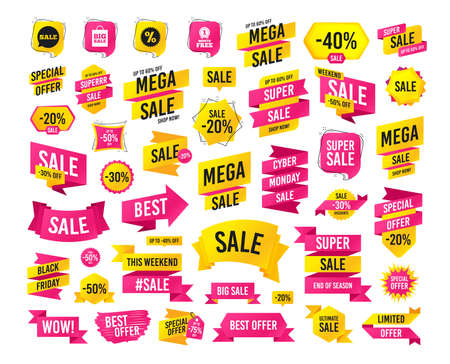 Sales banner. Super mega discounts. Sale speech bubble icon. Discount star symbol. Big sale shopping bag sign. First month free medal. Black friday. Cyber monday. Vector