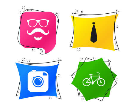 Hipster photo camera. Mustache with beard icon. Glasses and tie symbols. Bicycle sign. Geometric colorful tags. Banners with flat icons. Trendy design. Vector Иллюстрация