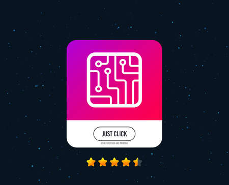 Circuit board sign icon. Technology scheme square symbol. Web or internet icon design. Rating stars. Just click button. Vector Illustration