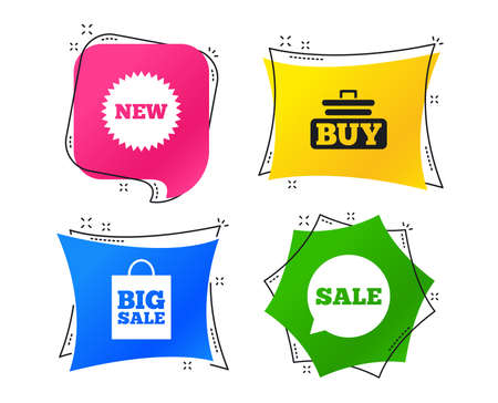 Sale speech bubble icon. Buy cart symbol. New star circle sign. Big sale shopping bag. Geometric colorful tags. Banners with flat icons. Trendy design. Vector