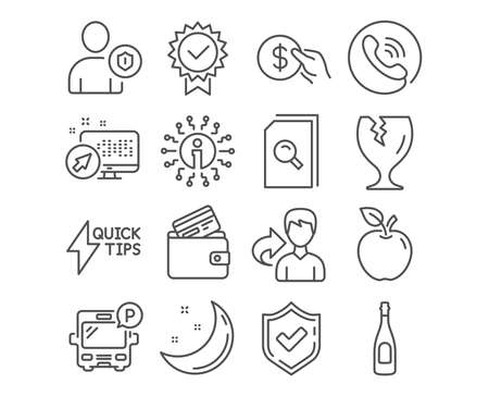 Set of Search files, Debit card and Fragile package icons. Payment, Champagne and Security signs. Quickstart guide, Bus parking and Certificate symbols. Vector 向量圖像