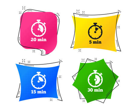 Timer icons. 5, 15, 20 and 30 minutes stopwatch symbols. Geometric colorful tags. Banners with flat icons. Trendy design. Vector