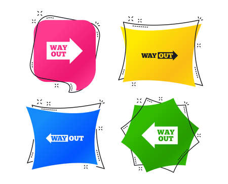 Way out icons. Left and right arrows symbols. Direction signs in the subway. Geometric colorful tags. Banners with flat icons. Trendy design. Vector