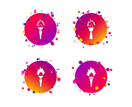 Torch flame icons. Fire flaming symbols. Hand tool which provides light or heat. Gradient circle buttons with icons. Random dots design. Vector