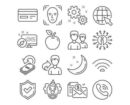 Set of Credit card, Work and Internet icons. Couple, Wifi and Cashback signs. Accounting report, Face detection and Clown symbols. Card payment, Settings, World web. Vector