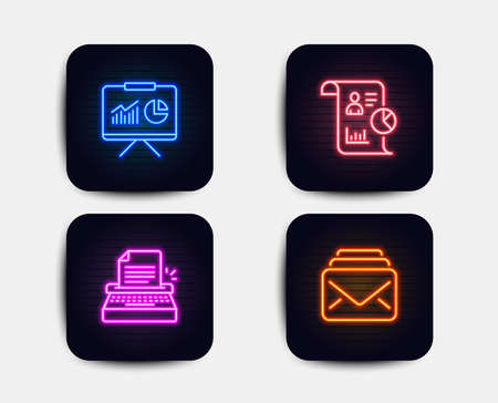 Neon glow lights. Set of Presentation, Typewriter and Report icons. Mail sign. Board with charts, Writer machine, Work statistics. New messages.  Neon icons. Glowing light banners. Vector