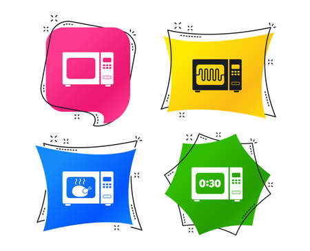 Microwave oven icons. Cook in electric stove symbols. Grill chicken with timer signs. Geometric colorful tags. Banners with flat icons. Trendy design. Vector Banco de Imagens - 109083720