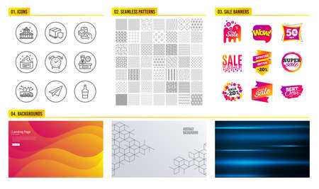 Seamless pattern. Shopping mall banners. Set of Skin cream, Presentation time and Messenger mail icons. Paper plane, Truck delivery and Circus signs. Vector