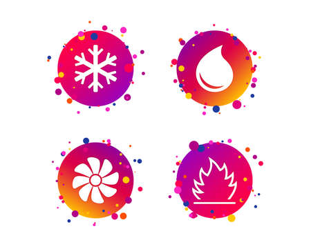 HVAC icons. Heating, ventilating and air conditioning symbols. Water supply. Climate control technology signs. Gradient circle buttons with icons. Random dots design. Vector Standard-Bild - 111103343