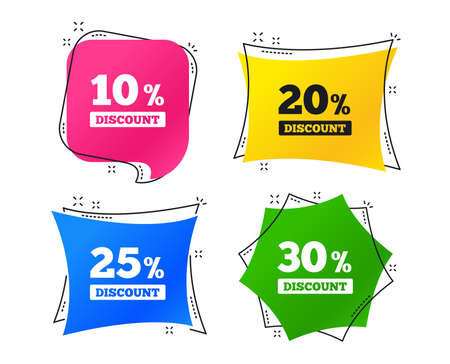 Sale discount icons. Special offer price signs. 10, 20, 25 and 30 percent off reduction symbols. Geometric colorful tags. Banners with flat icons. Trendy design. Vector Banque d'images - 111103345