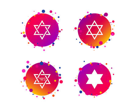 Star of David sign icons. Symbol of Israel. Gradient circle buttons with icons. Random dots design. Vector Imagens - 109083731
