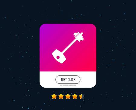 Key sign icon. Unlock tool symbol. Web or internet icon design. Rating stars. Just click button. Vector Illustration
