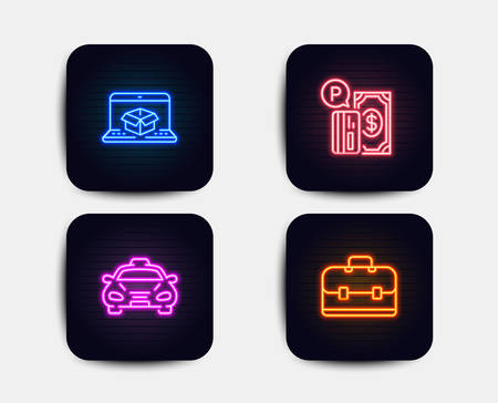 Neon glow lights. Set of Online delivery, Taxi and Parking payment icons. Portfolio sign. Parcel tracking website, Public transportation, Paid garage. Business case.  Neon icons. Glowing light banners