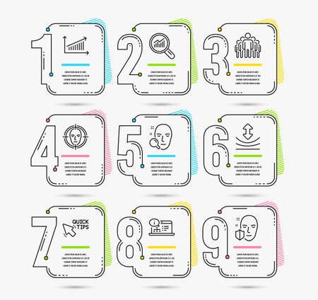 Infographic template with numbers 9 options. Set of Face search, Chart and Group icons. Quick tips, Resilience and Online documentation signs. Face detect, Data analysis symbols. Vector