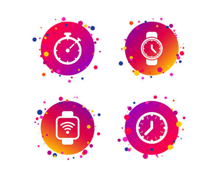Smart watch wi-fi icons. Mechanical clock time, Stopwatch timer symbols. Wrist digital watch sign. Gradient circle buttons with icons. Random dots design. Vector Banque d'images - 109083810