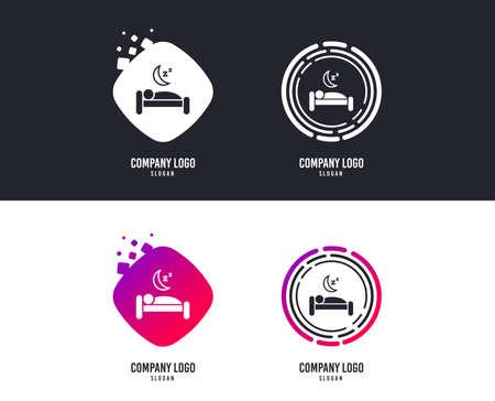 Concepto de emblema. icono de la muestra del hotel de viaje. símbolo de la descanso. símbolo de la barba. elementos de colores con el patrón de colores. iconos . vector Foto de archivo - 109083817