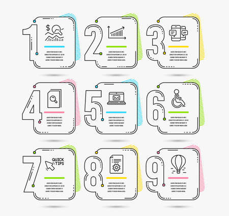 Infographic template with numbers 9 options. Set of Check investment, Search files and Quick tips icons. Chart, Disabled and Smartphone sms signs. Vector