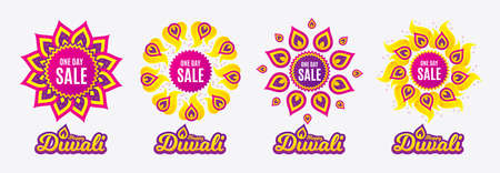 Diwali sales banners. One day Sale. Special offer price sign. Advertising Discounts symbol. Diwali hindu festival of lights. Shopping tags. Vector