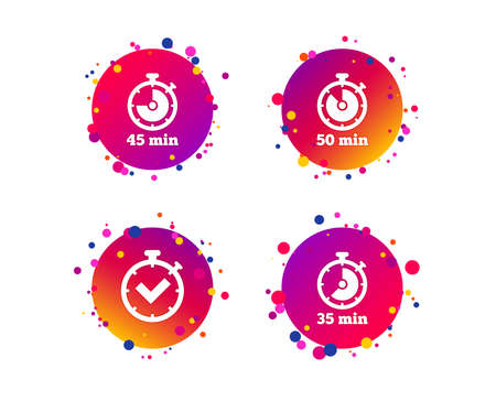 Timer icons. 35, 45 and 50 minutes stopwatch symbols. Check or Tick mark. Gradient circle buttons with icons. Random dots design. Vector