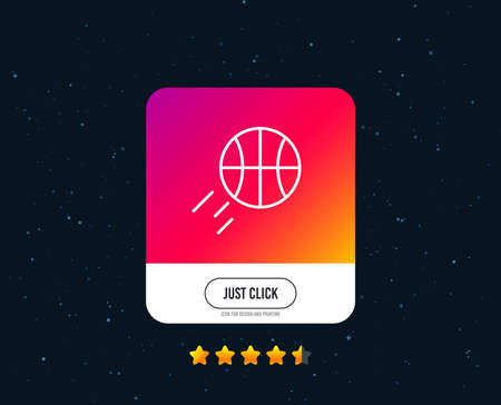 Basketball line icon. Sport ball sign. Competition symbol. Web or internet line icon design. Rating stars. Just click button. Vector Stok Fotoğraf - 109083826