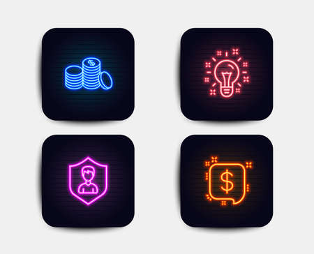 Neon glow lights. Set of Idea, Security agency and Banking money icons. Payment message sign. Creativity, People protection, Cash finance. Finance.  Neon icons. Glowing light banners. Vector