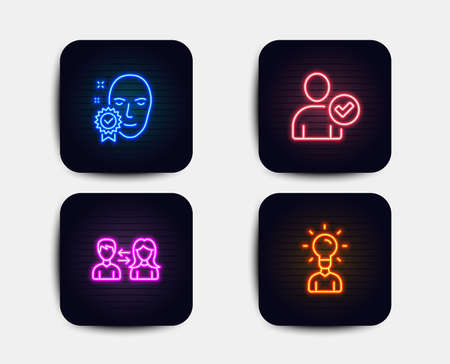 Neon glow lights. Set of Face verified, Identity confirmed and People communication icons. Education sign. Access granted, Person validated, People talking. Human idea.  Neon icons. Vector Illustration