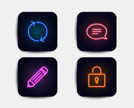 Neon glow lights. Set of Pencil, Chat and Refresh icons. Lock sign. Edit data, Speech bubble, Rotation. Private locker.  Neon icons. Glowing light banners. Vector