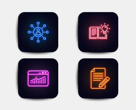 Neon glow lights. Set of Networking, Product knowledge and Website statistics icons. Article sign. Business communication, Education process, Data analysis. Feedback.  Neon icons. Vector