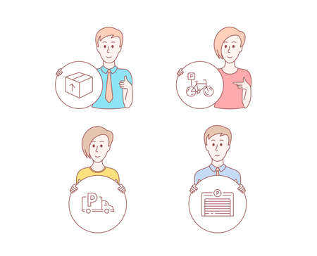 People hand drawn style. Set of Package, Bicycle parking and Truck parking icons. Delivery pack, Bike park, Free park. Automatic door.  Character hold circle button. Man with like hand. Vector Illustration