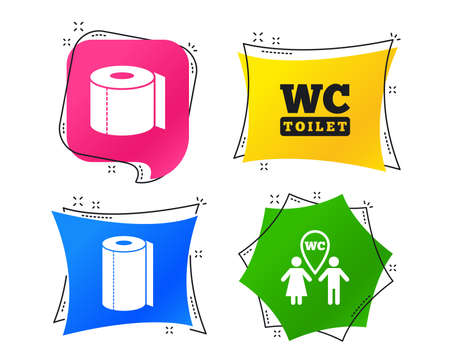 Toilet paper icons. Gents and ladies room signs. Paper towel or kitchen roll. Man and woman symbols. Geometric colorful tags. Banners with flat icons. Trendy design. Vector