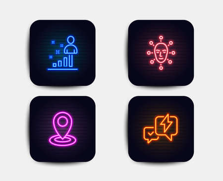 Neon glow lights. Set of Stats, Face biometrics and Location icons. Lightning bolt sign. Business analysis, Facial recognition, Map pointer. Messenger.  Neon icons. Glowing light banners. Vector
