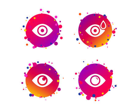 Eye icons. Water drops in the eye symbols. Red eye effect signs. Gradient circle buttons with icons. Random dots design. Vector Illustration