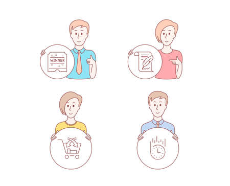 People hand drawn style. Set of Cross sell, Feather and Winner ticket icons. Fast delivery sign. Market retail, Copyright page, Carousels award. Stopwatch. Character hold circle button. People Vector