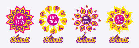 Diwali sales banners. Save 75% off. Sale Discount offer price sign. Special offer symbol. Diwali hindu festival of lights. Shopping tags. Vector Illustration
