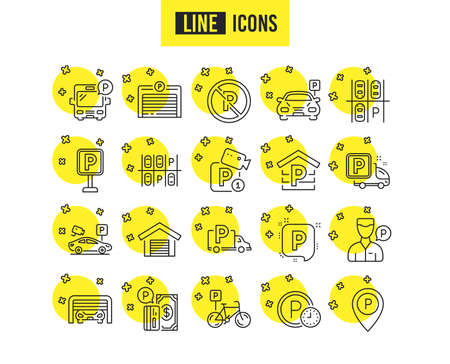 Parking line icons. Set of Garage, Valet servant and Paid parking linear icons. Video monitoring, Bike or Car park and Truck or Bus stopping. Money payment, Map pointer and Free park place. Vector Illustration