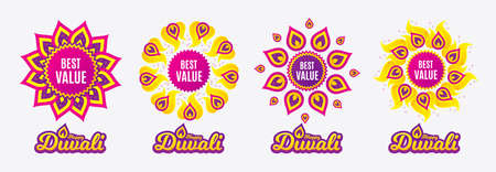 Diwali sales banners. Best value. Special offer Sale sign. Advertising Discounts symbol. Diwali hindu festival of lights. Shopping tags. Vector Illustration