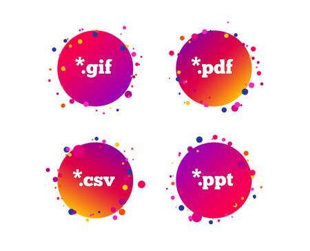 Document icons. File extensions symbols. PDF, GIF, CSV and PPT presentation signs. Gradient circle buttons with icons. Random dots design. Vector