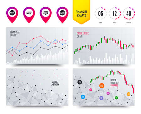 Financial planning charts. Sale icons. Special offer speech bubbles symbols. Buy now arrow shopping signs. Available now. Cryptocurrency stock market graphs icons. Trendy design. Vector