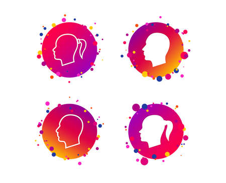Head icons. Male and female human symbols. Woman with pigtail signs. Gradient circle buttons with icons. Random dots design. Vector