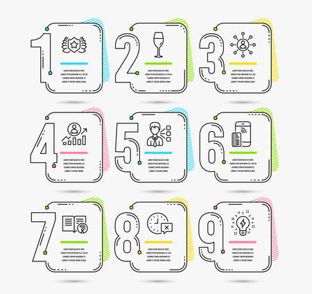 Infographic template with numbers 9 options. Set of Time, Third party and Networking icons. Laureate, Wineglass and Help signs. Career ladder, Contactless payment and Inspiration symbols. Vector Фото со стока - 111103429