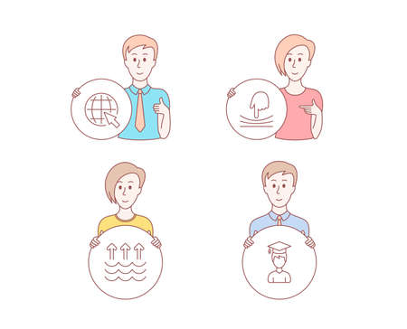 People hand drawn style. Set of Evaporation, Internet and Elastic icons. Student sign. Global warming, World web, Resilience. Graduation cap.  Character hold circle button. Man with like hand. Vector Illustration