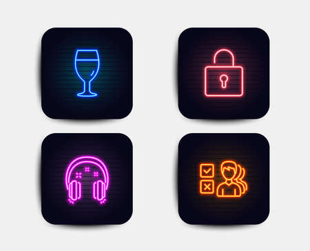 Neon glow lights. Set of Lock, Beer glass and Headphones icons. Opinion sign. Private locker, Brewery beverage, Earphones. Choose answer. Neon icons. Glowing light banners. Vector