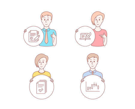 People hand drawn style. Set of Copywriting, Copyright laptop and Handout icons. Candlestick graph sign. Сopyright signature, Writer device, Documents example. Finance chart. Vector 일러스트