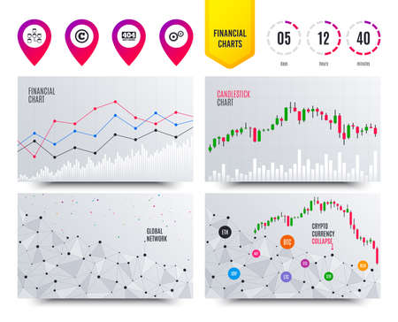 Financial planning charts. Website database icon. Copyrights and gear signs. 404 page not found symbol. Under construction. Cryptocurrency stock market graphs icons. Trendy design. Vector Illusztráció
