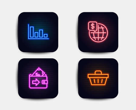Neon glow lights. Set of World money, Histogram and Wallet icons. Shopping basket sign. Global markets, Economic trend, Money payment. Sale offer.  Neon icons. Glowing light banners. Vector