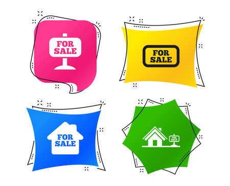 For sale icons. Real estate selling signs. Home house symbol. Geometric colorful tags. Banners with flat icons. Trendy design. Vector Çizim