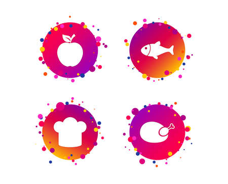 Food icons. Apple fruit with leaf symbol. Chicken hen bird meat sign. Fish and Chef hat icons. Gradient circle buttons with icons. Random dots design. Vector