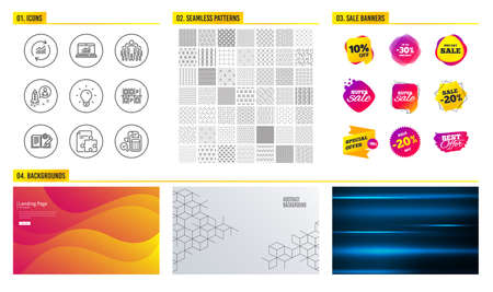 Seamless pattern. Shopping mall banners. Set of Parking place, Group and Online statistics icons. Engineering documentation, Light bulb and Startup signs. Vector Archivio Fotografico - 109083896