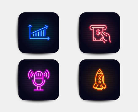 Neon glow lights. Set of Chart, Microphone and Atm service icons. Rocket sign. Presentation chart, Mic, Cash investment. Spaceship.  Neon icons. Glowing light banners. Vector Illustration