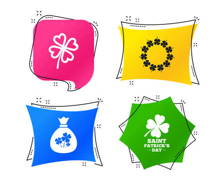 Saint Patrick day icons. Money bag with clover sign. Wreath of quatrefoil clovers. Symbol of good luck. Geometric colorful tags. Banners with flat icons. Trendy design. Vector Illustration